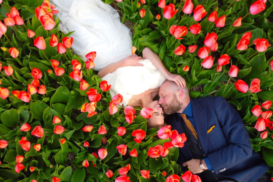 Drone photo of married couple in Dutch tulip fields by Amsterdam photographer Tom van der Leij