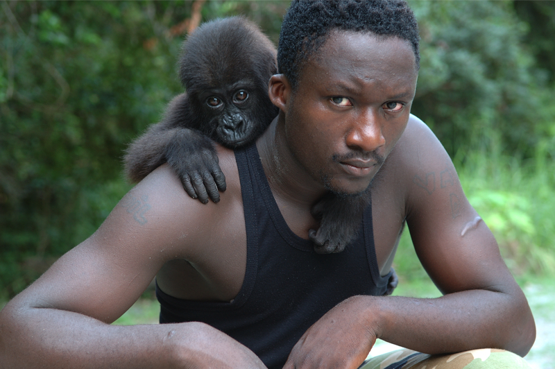Man with baby gorilla by Amsterdam photographer Tom van der Leij